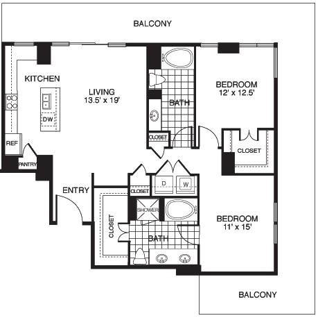 1,331 sq. ft. Harmony/Tower floor plan