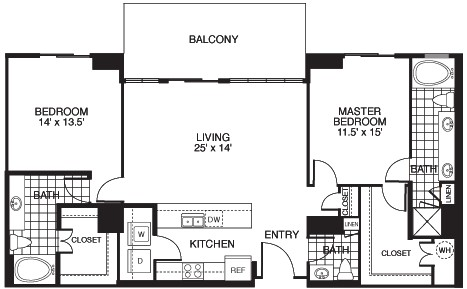 1,438 sq. ft. B6/TOWER floor plan