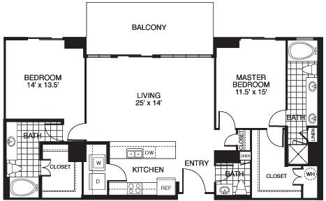 1,438 sq. ft. B6/TOWER floor plan