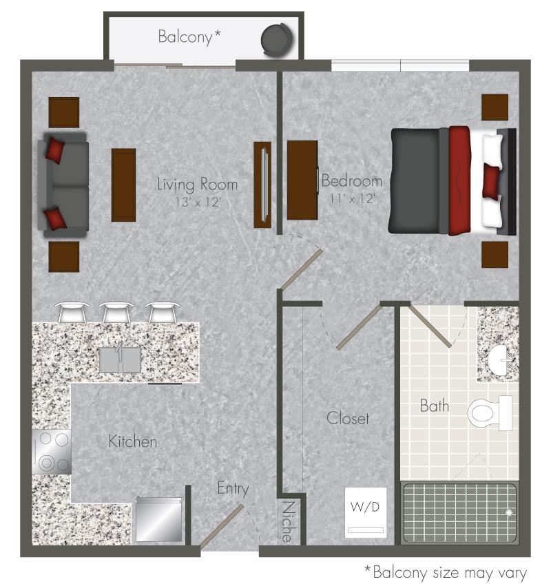 576 sq. ft. 1 floor plan