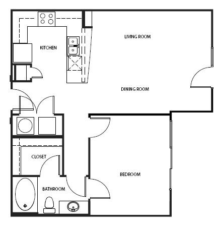 819 sq. ft. A3-E floor plan