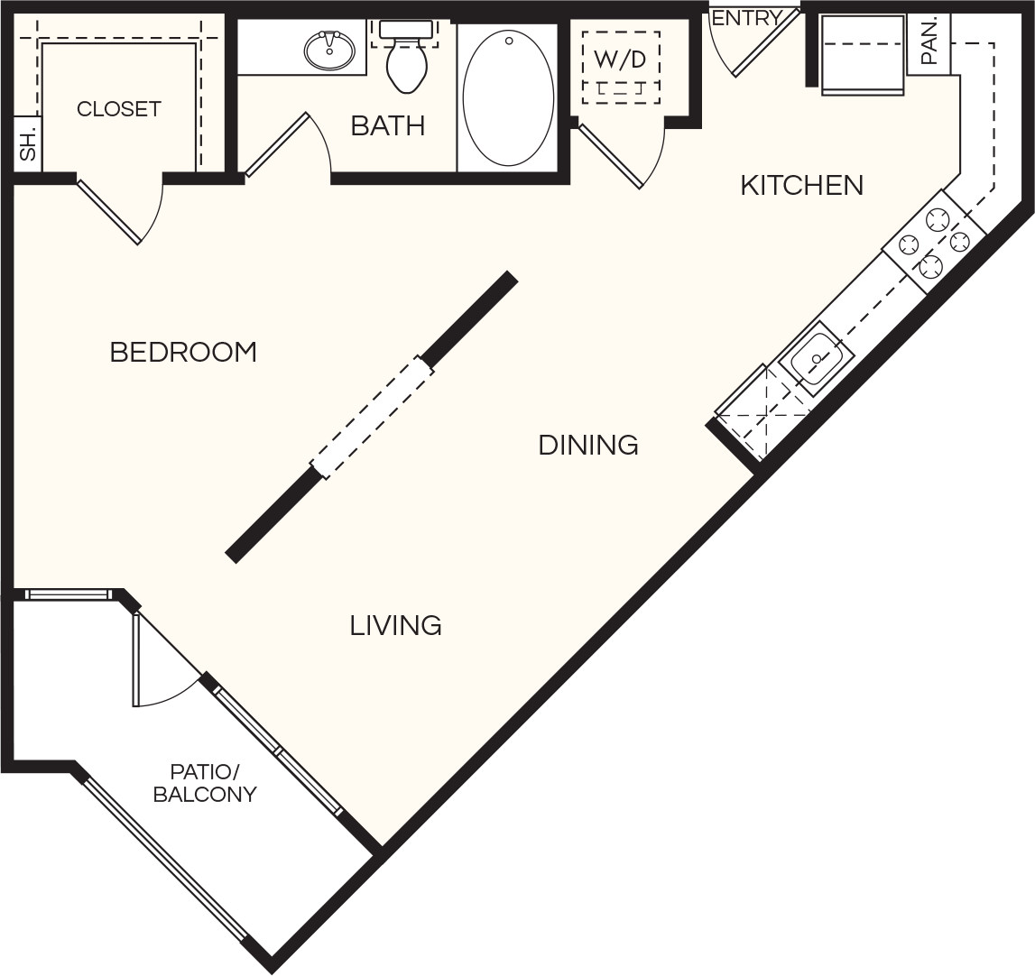 697 sq. ft. A01 floor plan
