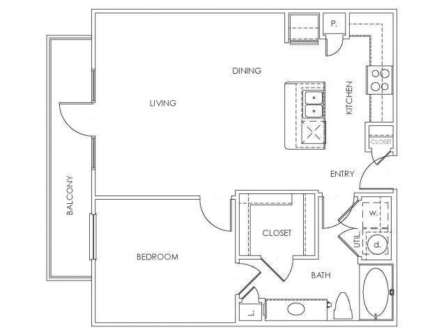 772 sq. ft. to 811 sq. ft. A2 floor plan