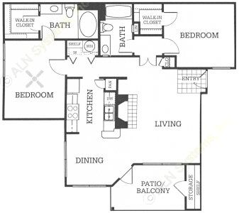 1,054 sq. ft. B2 floor plan