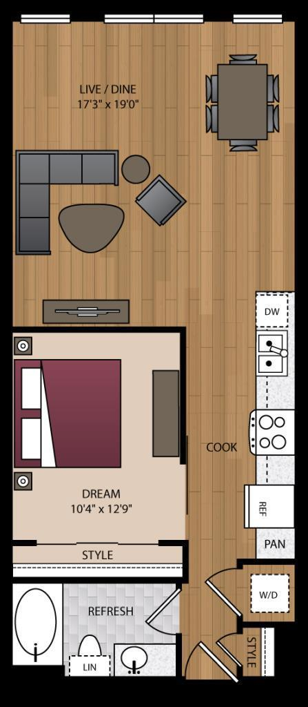 746 sq. ft. A3.4 floor plan
