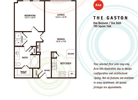 790 sq. ft. A4a/GASTON floor plan