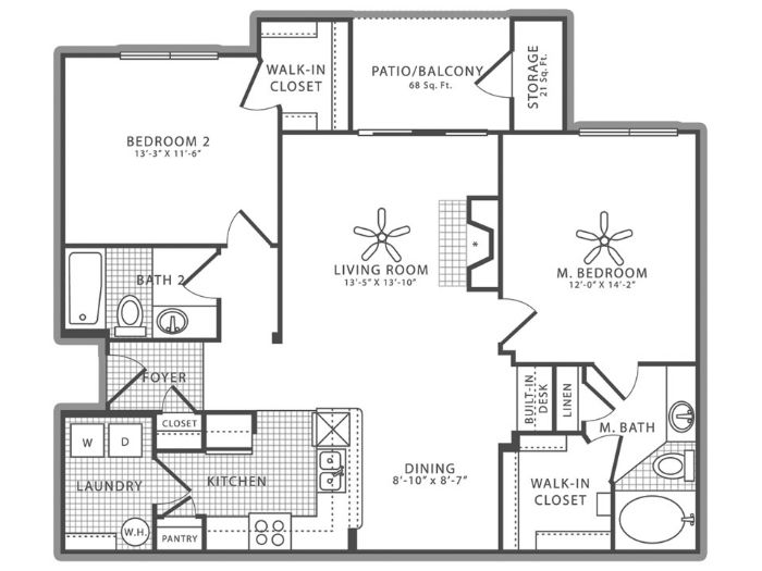1,145 sq. ft. B2 floor plan