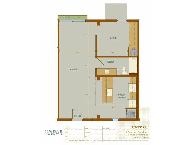 757 sq. ft. G1 floor plan