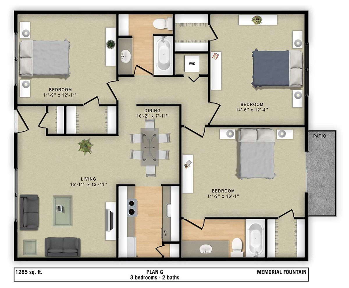 1,285 sq. ft. G floor plan