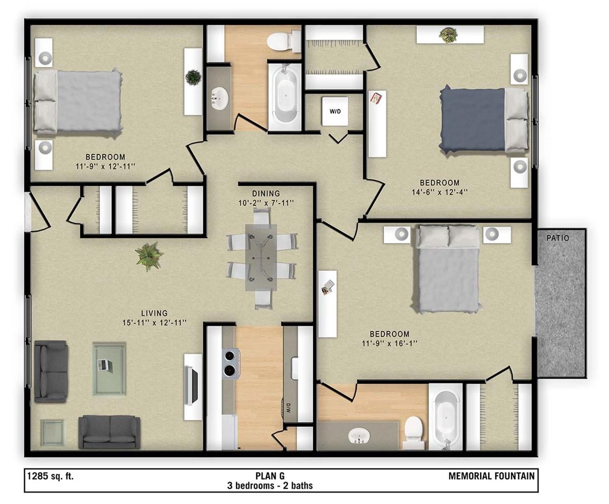 1,285 sq. ft. G floor plan