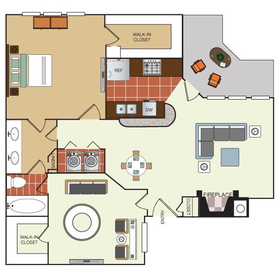 859 sq. ft. 2B floor plan