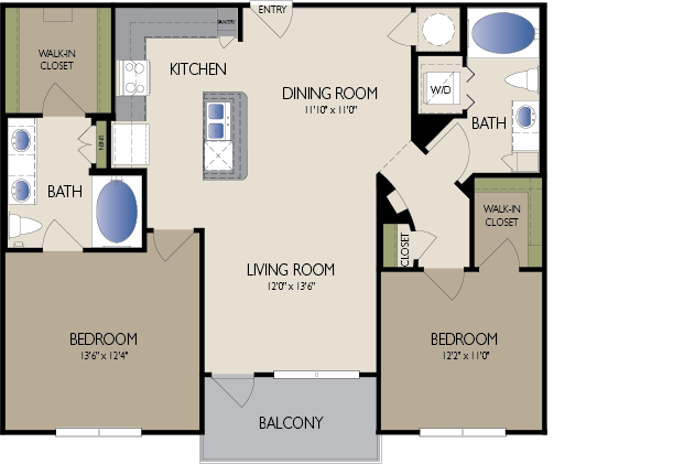 1,092 sq. ft. Milano floor plan