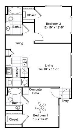 1,003 sq. ft. B1 floor plan