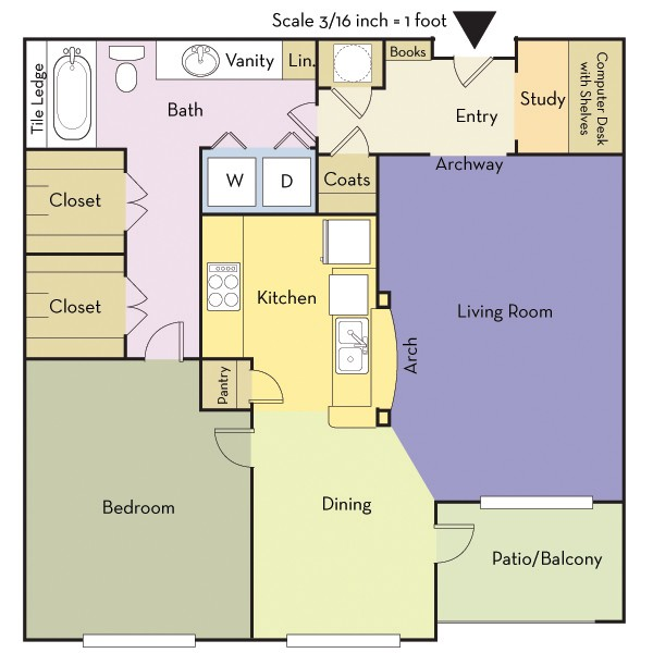 875 sq. ft. A1B/THOMAS floor plan
