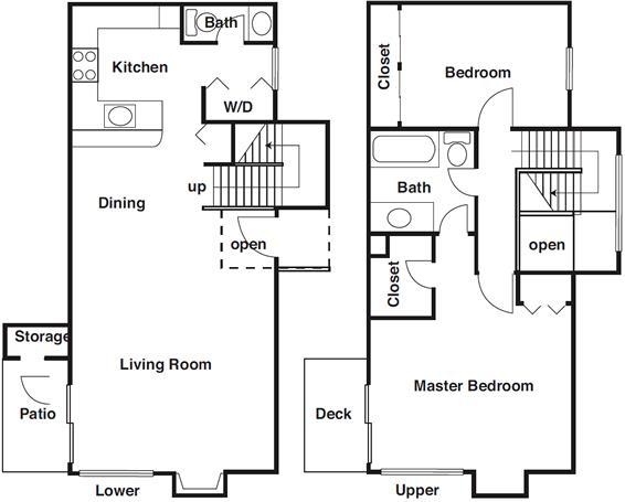 1,234 sq. ft. B6 floor plan