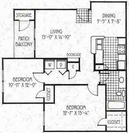 899 sq. ft. B1 floor plan