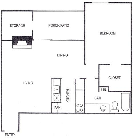 720 sq. ft. C/C1 floor plan