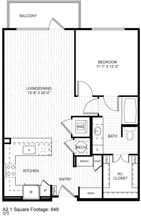 848 sq. ft. A2.1 floor plan