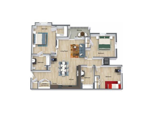 1,190 sq. ft. 30% floor plan