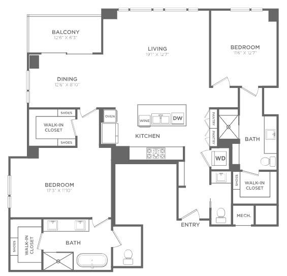 1,670 sq. ft. TB5 floor plan