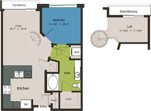 678 sq. ft. A1H floor plan