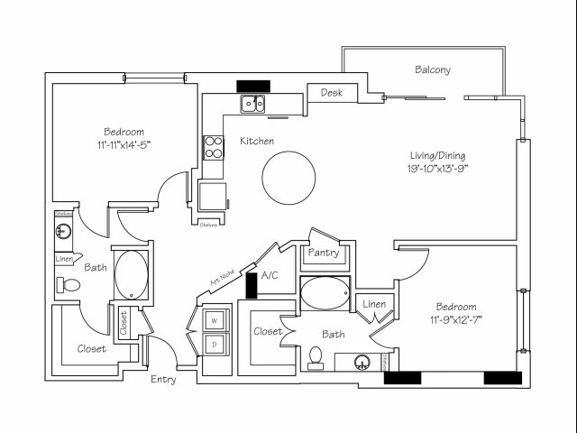 1,420 sq. ft. B5 floor plan