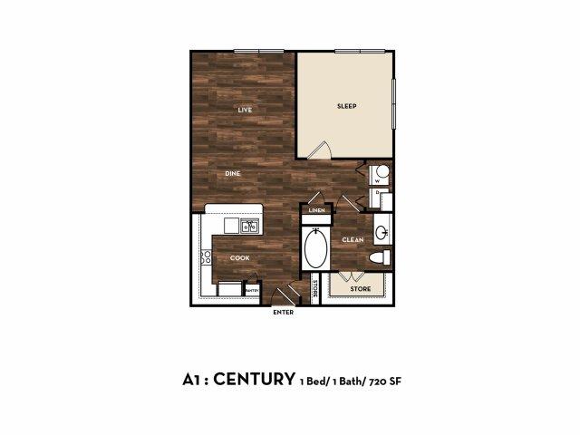 720 sq. ft. A1: Century floor plan