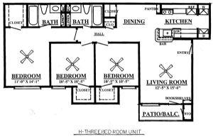 1,001 sq. ft. H 60% floor plan