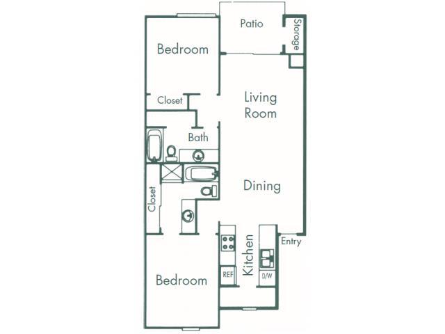987 sq. ft. B4 floor plan
