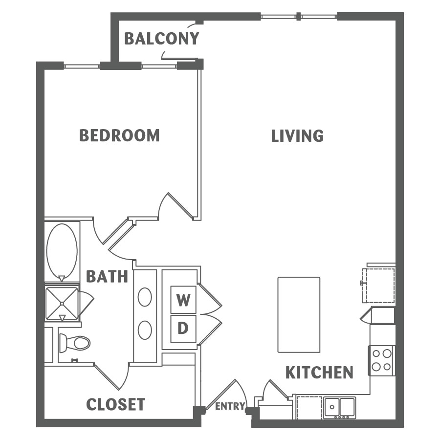 965 sq. ft. A5 floor plan