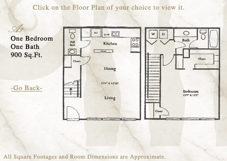 900 sq. ft. A7 floor plan