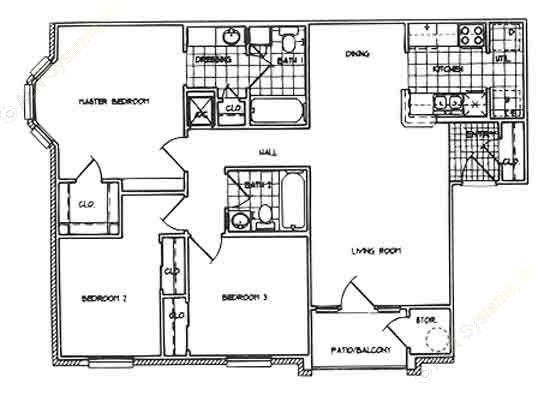 1,100 sq. ft. C/60% floor plan