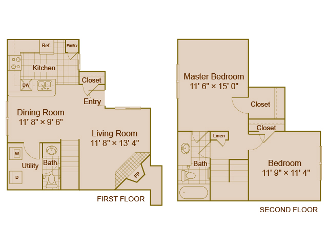 1,027 sq. ft. B4 floor plan