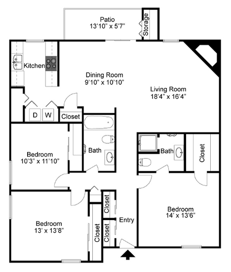 1,495 sq. ft. C2 floor plan