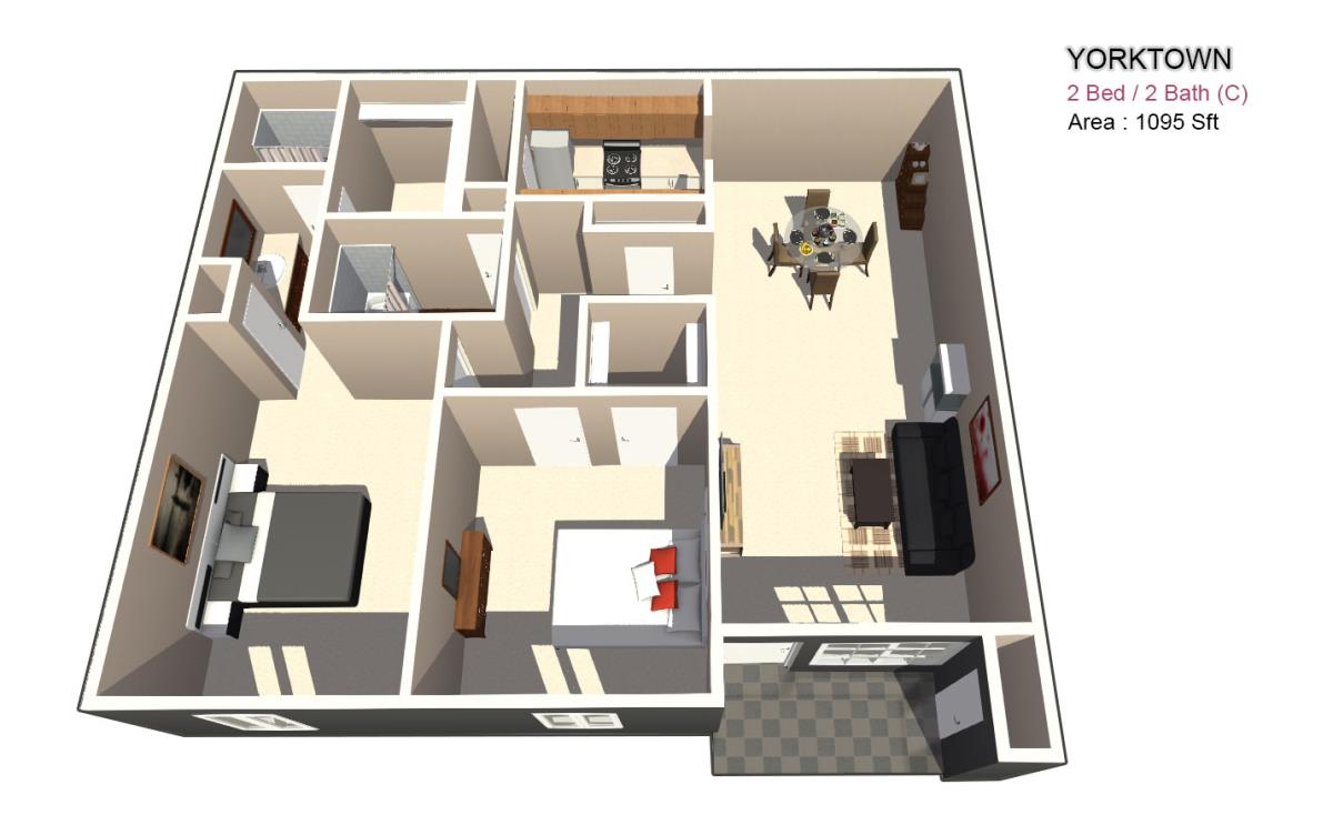 1,115 sq. ft. 2X2 floor plan