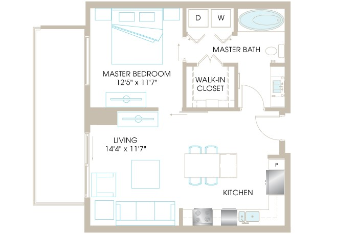 714 sq. ft. A3a floor plan