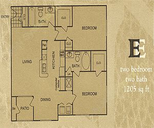 1,205 sq. ft. E floor plan