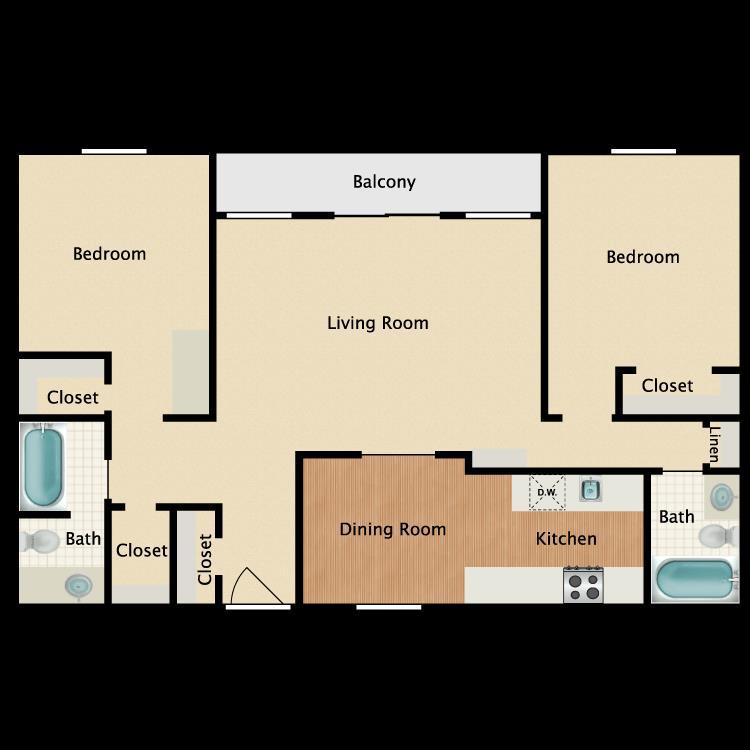 1,154 sq. ft. B4 floor plan