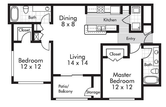 1,030 sq. ft. Bluestone floor plan