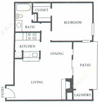 653 sq. ft. C2 floor plan