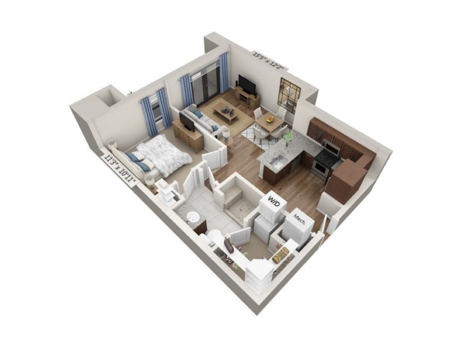 674 sq. ft. Allegro floor plan