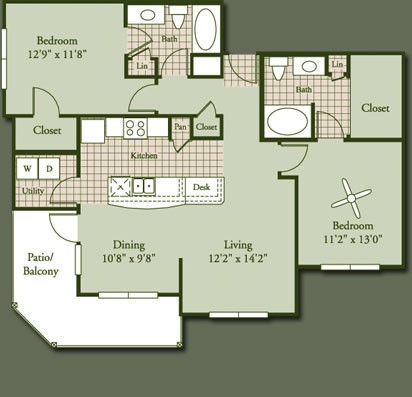 1,152 sq. ft. TRAVERTINE floor plan