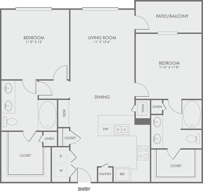 1,097 sq. ft. B2 floor plan