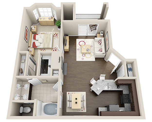 770 sq. ft. A1 floor plan
