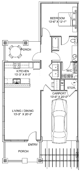 850 sq. ft. Garden B 60 floor plan