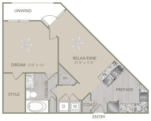 815 sq. ft. A3 floor plan