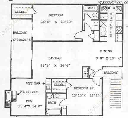 1,258 sq. ft. B2 floor plan