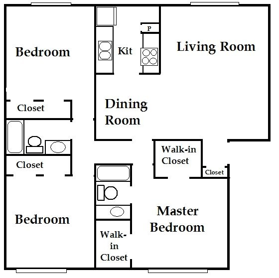 1,300 sq. ft. C2 floor plan