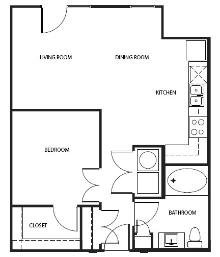 702 sq. ft. 1A1AAH floor plan