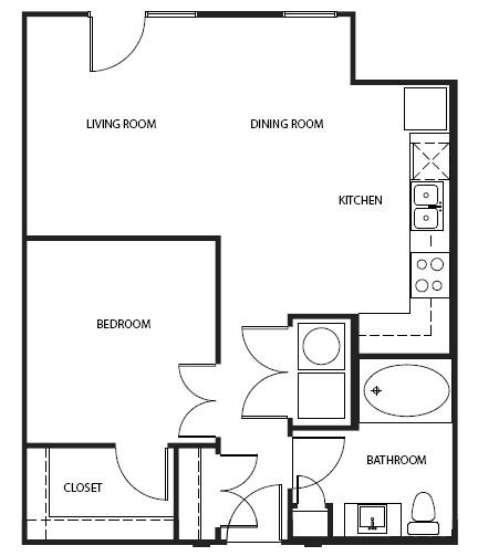 702 sq. ft. A1-P ALT floor plan